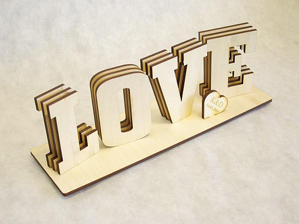 Napis LOVE sklejka brzozowa